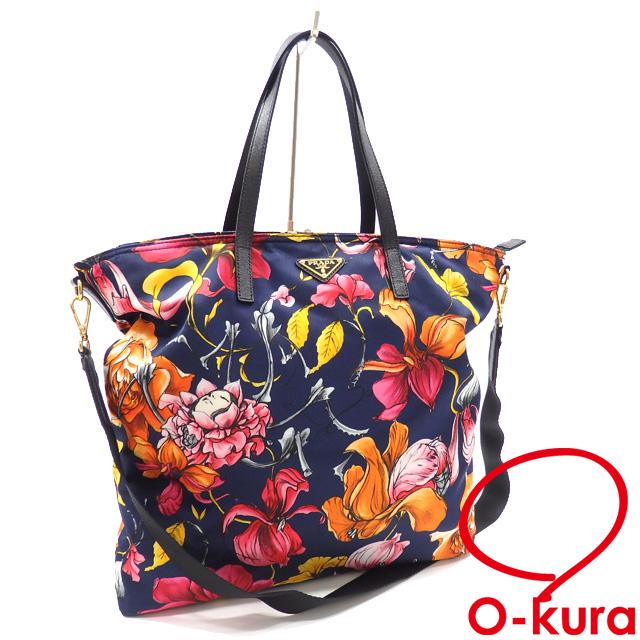 1c9c3a2c1877 Take multicolored nylon leather B2600F PRADA floral design flower print  2WAY shoulder slant of Prada tote bag Lady s navy origin  hand  deep-discount ...