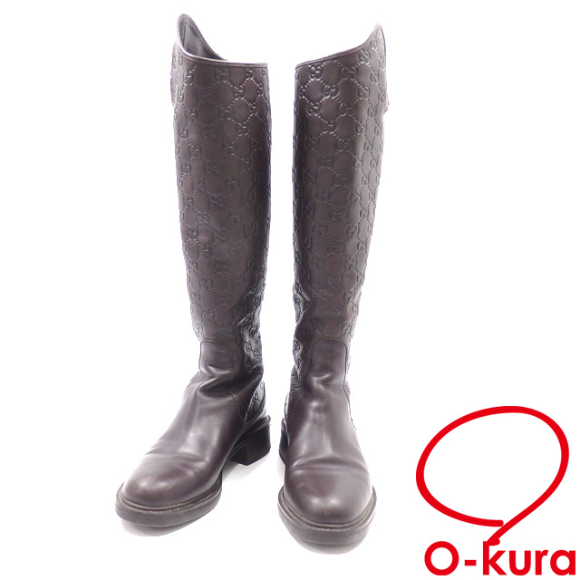 d5d649528 Gucci boots lady's long round toe leather brown approximately 22.5cm 35 1/2  Gucci