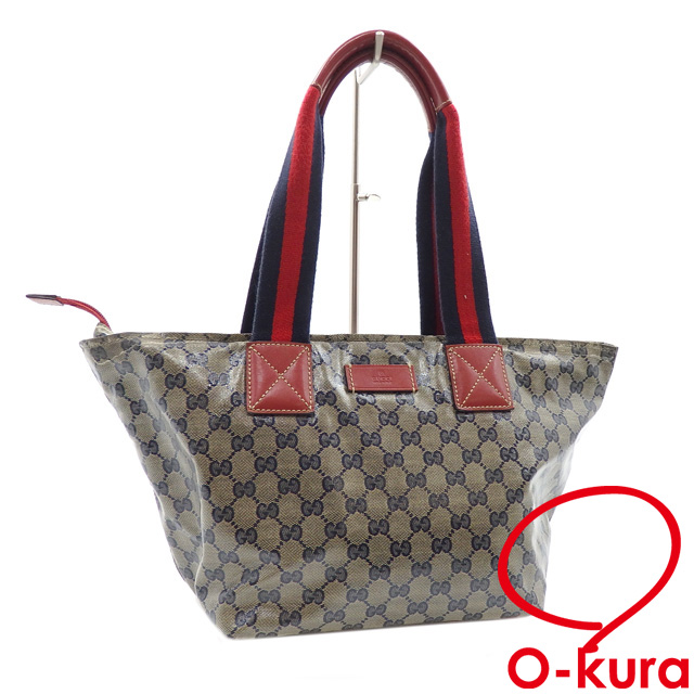 Gucci tote bag GG crystal Lady's beige system navy coating canvas leather  131230 GUCCI shoulder deep-discount exemption from taxation A170165