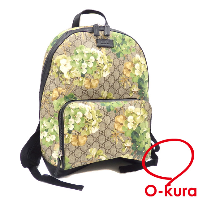 Yellowish green PVC leather 406370 GUCCI leather floral design flower  backpack deep-discount exemption from taxation A2169763 of Gucci rucksack  GG bloom ...