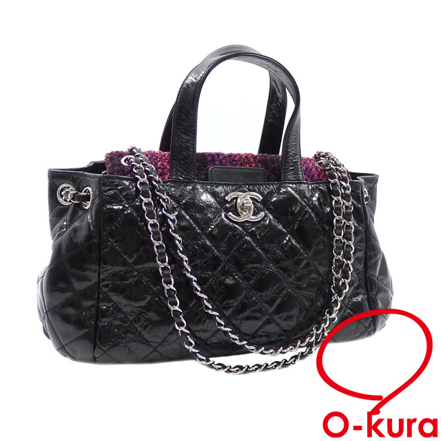 1d4a229e4db4 Chanel handbag matelasse Portobello Lady s black purple system black purple  calf-leather tweed CHANEL chain shoulder shawl 2WAY wrinkle processing ...