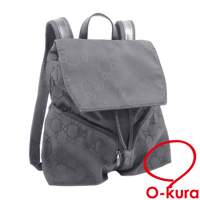 7742669d3 Gucci rucksack Lady's black black nylon canvas leather 003.0238.002058 GUCCI  backpack GG pattern deep ...