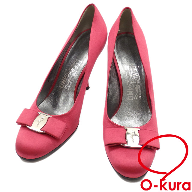 b774483649 Salvatore Ferragamo pumps Lady's round toe high-heeled shoes satin pink size  approximately 25.0cm ...