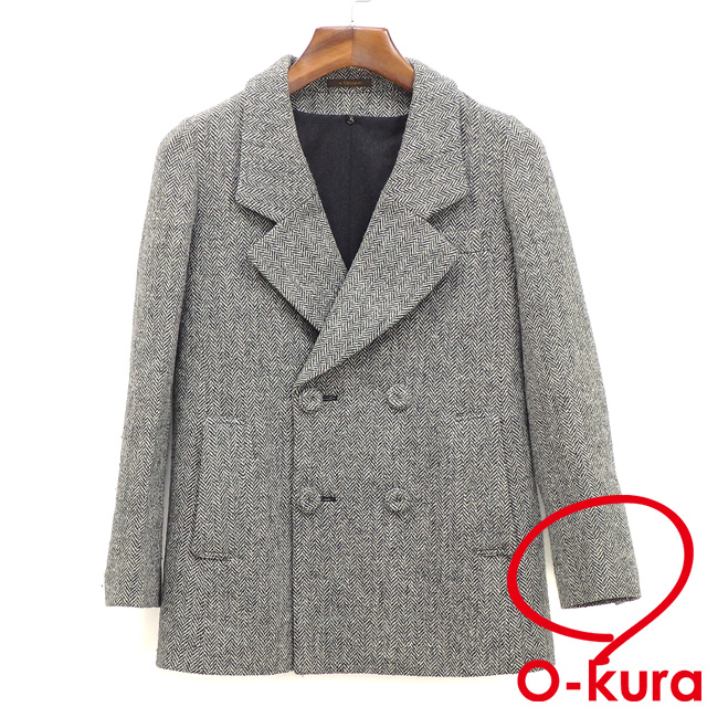My dull Tani Ann X Harris Tweed coat Lady's long sleeves wool other gray  size 36 herringbone my D'artagnan HARRIS TWEED postage distinction