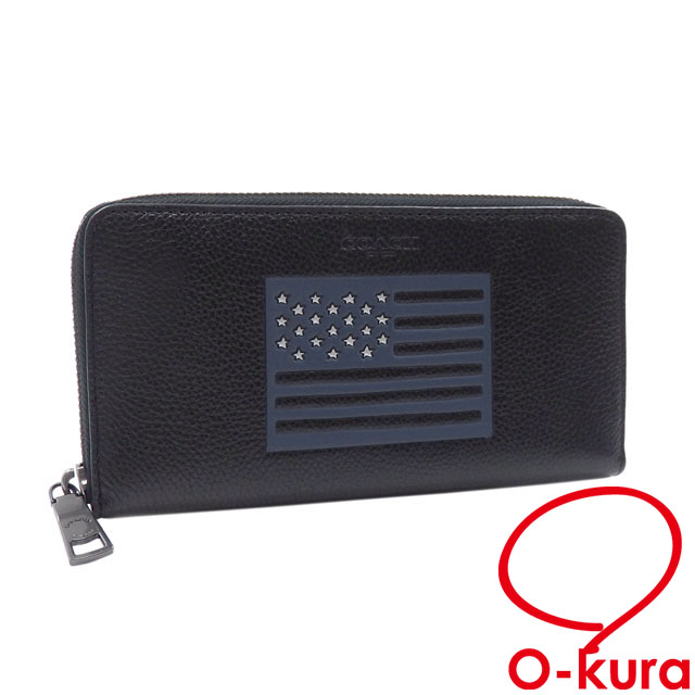 42d8715d49 Coach round fastener long wallet men black black leather F29310 COACH  outlet article national flag Star-Spangled Banner deep-discount exemption  from ...