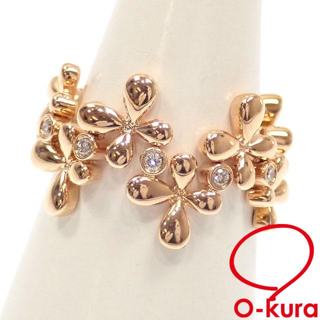 中古 ダイヤモンド クロスモチーフ リング レディース 定番キャンバス K18PG 15号 18金 750 十字架 0.10ct 7.5g セールSALE%OFF 指輪 ピンクゴールド