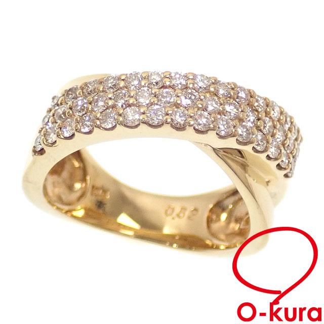 中古 ダイヤモンド デザイン リング レディース K18YG 8号 0.62ct チープ 6.101g 卓抜 イエローゴールド 750 18金 指輪