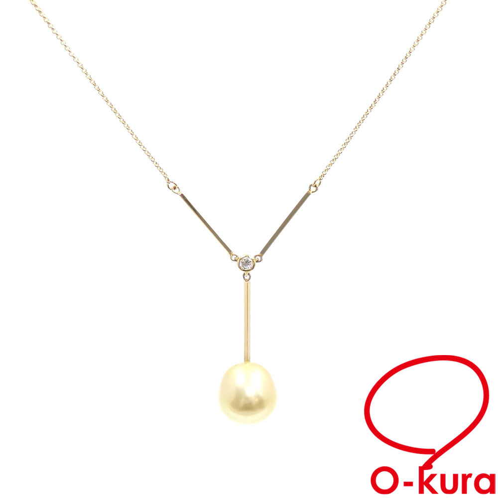スピード対応 全国送料無料 中古 パール ダイヤモンド ネックレス レディース K18YG 0.08ct 真珠 750 永遠の定番 18金 イエローゴールド