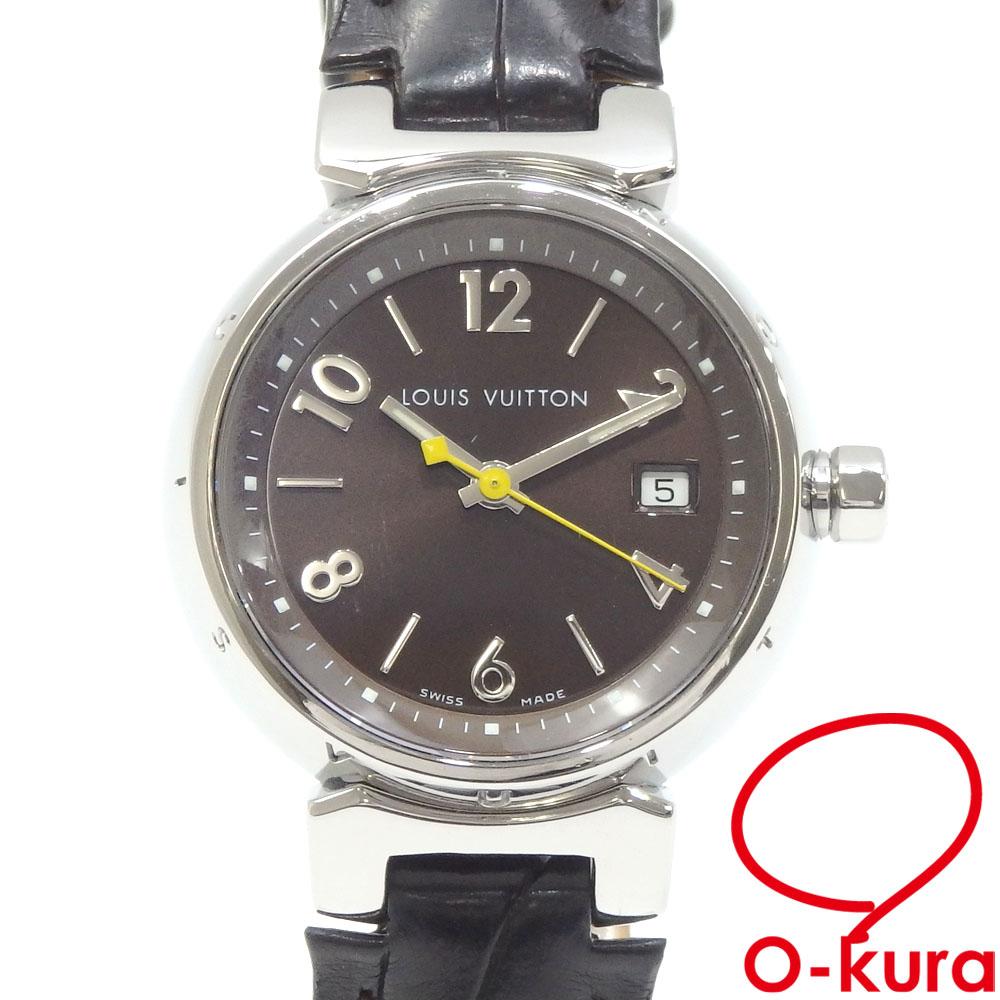 セール品 値下げしました 中古 ルイ 値下げ 物品 ヴィトン 腕時計 タンブール Q1211 革ベルト 電池式 クォーツ SS ボーイズ