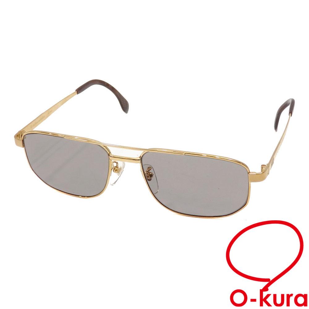 希少 中古 ミラショーン サングラス メンズ ブラウン ゴールド 茶色 K18YG プラスチック 18金 アイウェア 750 MS-144KJ イエローゴールド ダイヤモンド 眼鏡 メガネ 上品