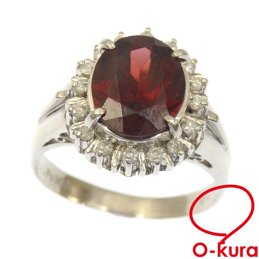 中古 ガーネット ダイヤモンド リング レディース Pt900 超激安特価 いよいよ人気ブランド 11.5号 指輪 6.2g 3.09ct D0.19ct プラチナ
