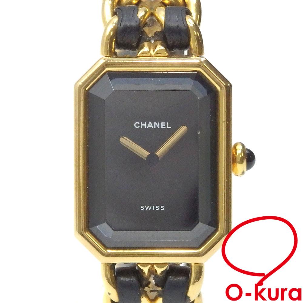 中古 シャネル 腕時計 プルミエール レディース クォーツ 市場 GP ゴールド 高級品 SS 電池式 ブラック レザー H0001