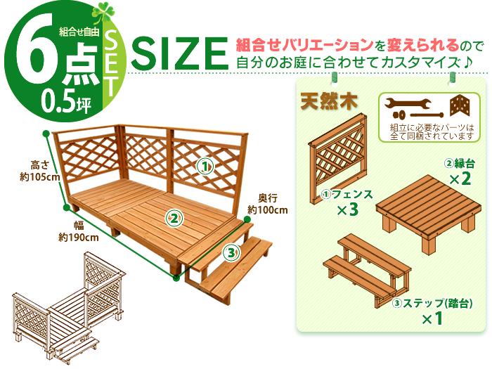 花园系统甲板≪0.5坪安排≫SD10-1639[木材甲板安排配套元件院子花园外部木制缘的台阶]