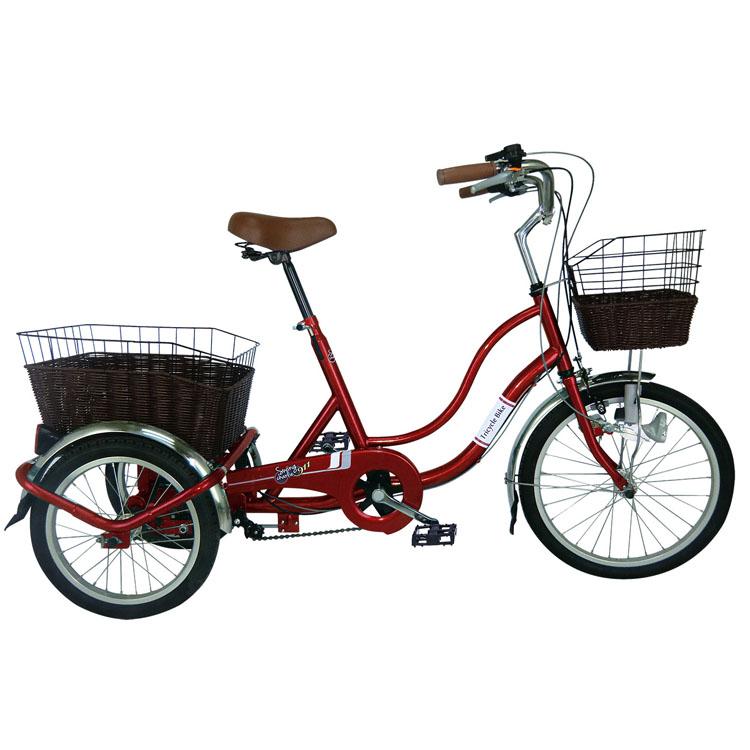 SWING CHARLIE911 ノーパンク三輪自転車G ワインレッド MG-TRW20NG 自転車 ノーパンク スイング 三輪 カゴ 赤 買い物 移動 お出かけ ミムゴ 【TD】【B】 【代引不可】