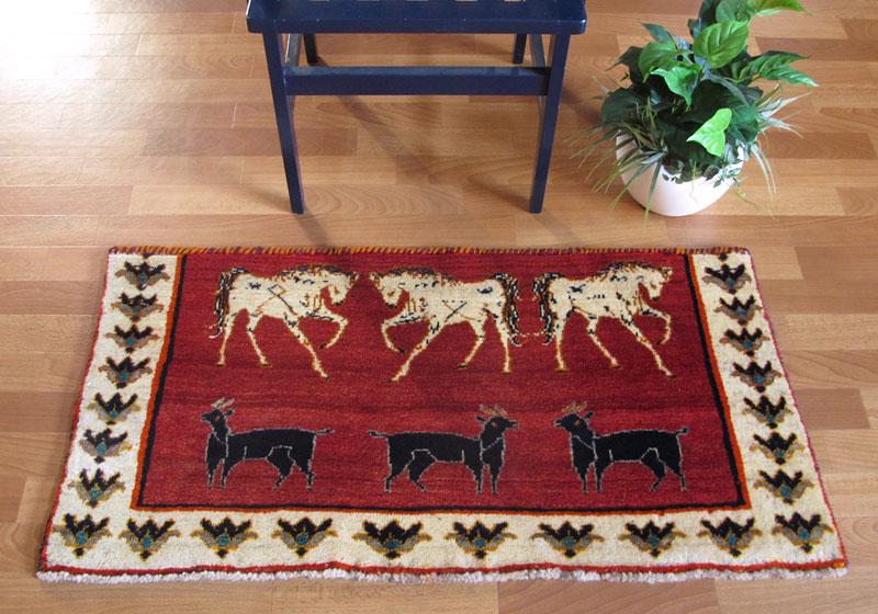 ギャッベ ギャベ/カシュガイ、絨毯のような細かな織 56×111cm