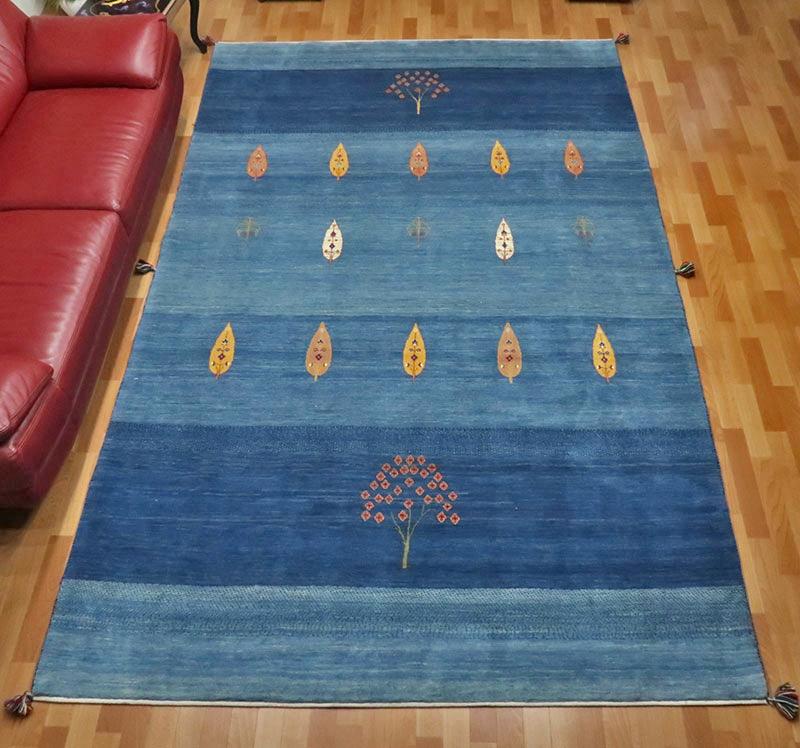 高級ギャッベ/ホシナマイ(ルリバフ) 325×201cm(HX-11355)イラン直輸入、草木染め、手織り、ブランドギャッベ