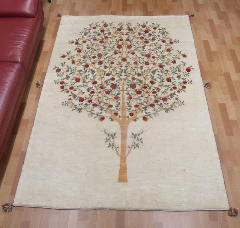 ギャッベ ギャベ 大きめリビングサイズ 257×170cm イラン直輸入 天然ウール100% 手織り ラグ ルリバフ (品番:HX-50528)
