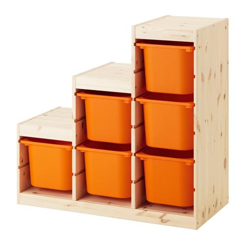 IKEA TROFAST イケア トロファスト 収納コンビネーション, パイン材, オレンジ 491.022.24 収納ボックス