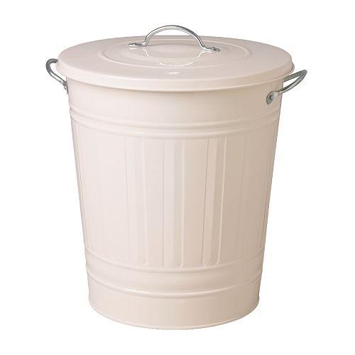 IKEA KNODD イケア ふた付き容器, ホワイト 40L 501.717.68 ブリキ ゴミ箱