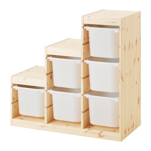 IKEA TROFAST イケア トロファスト 収納コンビネーション, パイン材, ホワイト 収納ボックス 591.021.10