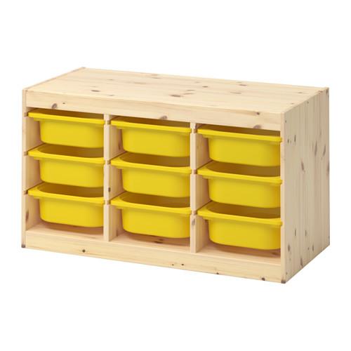 IKEA TROFAST イケア トロファスト おもちゃ箱 収納コンビネーション, ライトホワイトステインパイン, イエロー 992.408.69