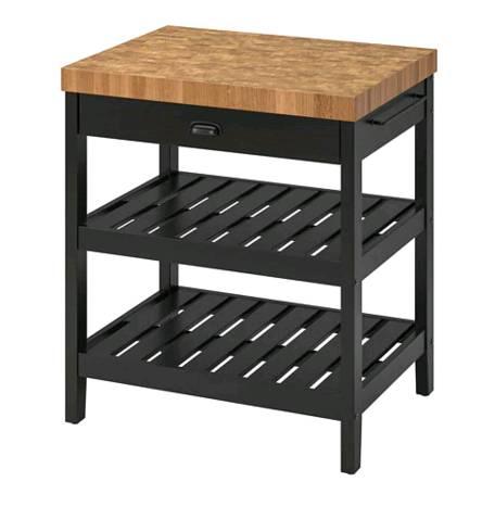 IKEA VADHOLMA ヴァドホルマアイランドキッチン 79x63x90ブラック, オーク203.661.16【メール便不可】