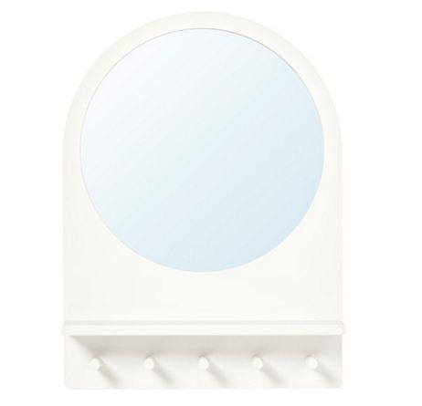 【NEW】IKEAイケアSALTRÖD サルトロードミラー シェルフ&フック付き, ホワイト803.050.78