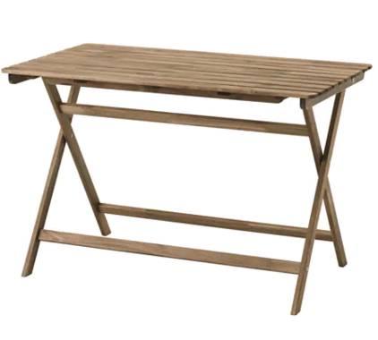 イケア IKEA ASKHOLMEN アスクホルメンテーブル 屋外用, 折りたたみ式 ライトブラウン ライトブラウンステイン グレーブラウンステイン サイズ112x62cm603.467.77【メール便不可】