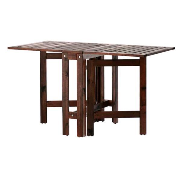 【NEW】IKEAÄPPLARÖ エップラローゲートレッグテーブル 屋外用, ブラウン ブラウンステイン, 20/77/133x62 cm302.085.36