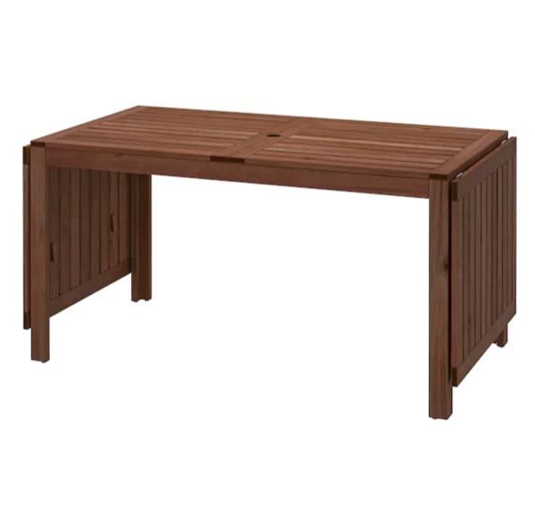 【NEW】IKEAÄPPLARÖ エップラロードロップリーフテーブル 屋外用, ブラウン ブラウンステイン, 140/200/260x78 cm202.085.32