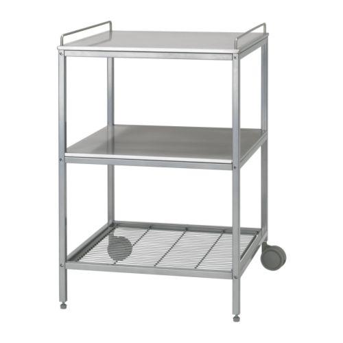イケア IKEA UDDEN キッチンワゴン シルバーカラー ステンレススチール 101.764.71 【メール便不可】