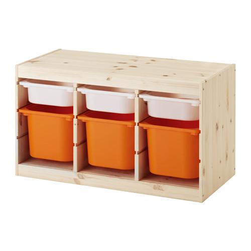 IKEA TROFAST イケア トロファスト おもちゃ箱 収納コンビネーション, パイン材 ホワイト, オレンジ 391.026.58