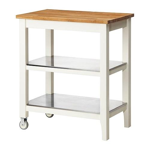 イケア IKEA STENSTORP キッチンワゴン, ホワイト, オーク 503.230.26 【メール便不可】