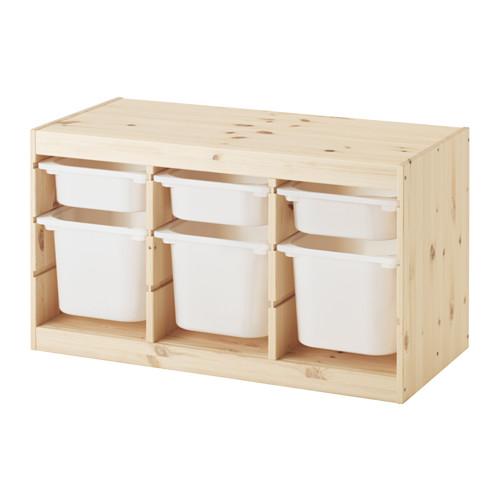 IKEA TROFAST イケア トロファスト おもちゃ箱 収納コンビネーション, パイン材 ホワイト, ホワイト 292.408.77