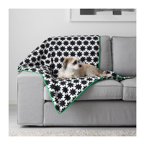 IKEA LURVIG イケア ペット用 毛布, ブラック, ホワイト ブランケット 803.766.12