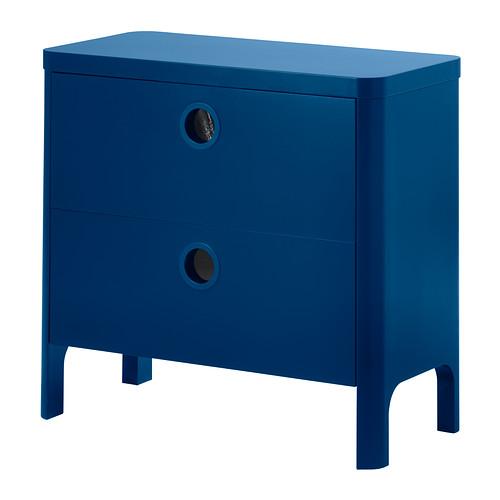 イケア IKEA BUSUNGE チェスト(引き出し×2) ミディアムブルー 602.290.09 【メール便不可】