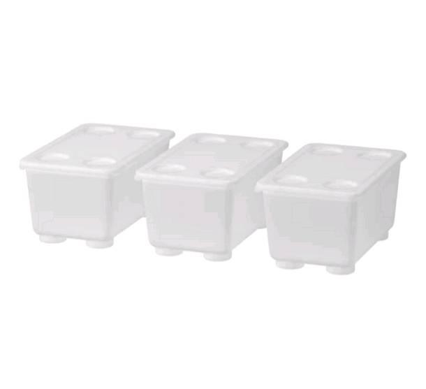 IKEAイケア GLIS グリース ふた付きボックス 透明 メール便不可 割引も実施中 3ピース 604.661.47 17x10 cm 優先配送
