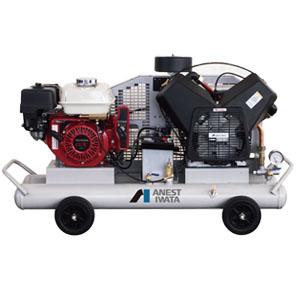 オイル式軽便タイプ 双胴型ガソリンエンジン付コンプレッサー PLUE22C-10S アネスト岩田