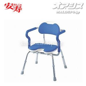 安寿 ひじ掛け付シャワーベンチ RE-U ブルー 536-230 アロン化成 座面幅40