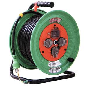 100V一般型電工ドラム 防雨・防塵型ドラム(アース過負荷漏電しゃ断器付) NW-EK33 日動工業
