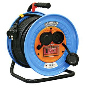 三相200V防雨・防塵型ドラム(アース過負荷漏電しゃ断器付) DNW-EK330-20A 日動工業