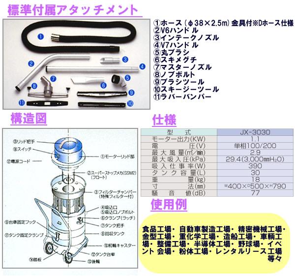 高効率工業用真空掃除機(乾湿選択吸引型)JX-3030