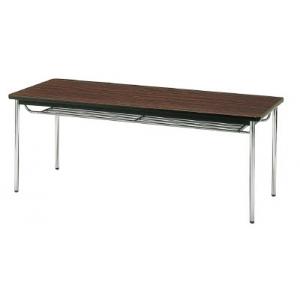 会議用テーブル 棚付丸脚 1500×600×700 ローズ TDS-1560TRO(ローズ)(ソフトエッジマキ) トラスコ(TRUSCO)