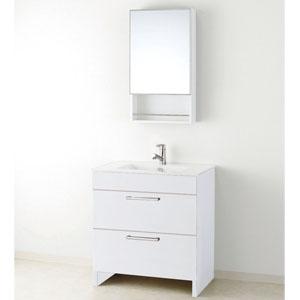 洗面化粧台 アール 一面鏡 スライド収納 幅750mm DSWDLTM755AF3H+MM450S(W10) アサヒ衛陶 ホワイト