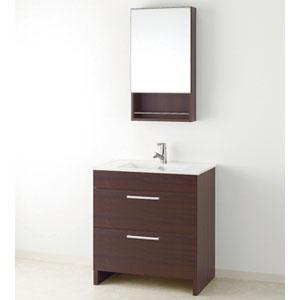 洗面化粧台 アール 一面鏡 スライド収納 幅750mm DSWDLTM755AF3H+MM450S(D10) アサヒ衛陶 ダークブラウン