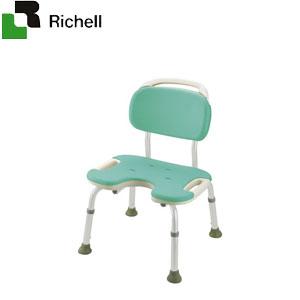 やわらかシャワーチェア U型 背付ワイド グリーン 49456 リッチェル 座面幅48.5