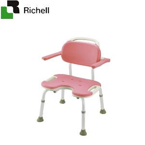 やわらかシャワーチェア U型 肘掛付ワイド ピンク 49461 リッチェル 座面幅48.5