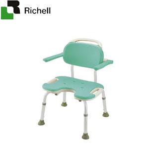 やわらかシャワーチェア U型 肘掛付ワイド グリーン 49466 リッチェル 座面幅48.5