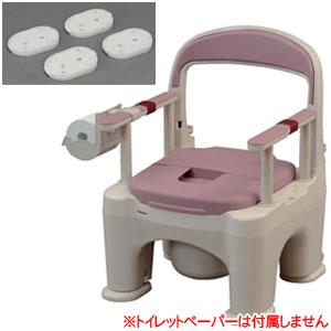 樹脂製ポータブルトイレ 座楽 ラフィーネ 脱臭プラスチック便座 前後傾斜脚付き (ミスティパープル) PN-L30211V パナソニックエイジフリー