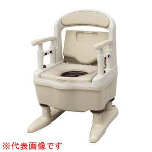 安寿 樹脂製ポータブルトイレ ジャスピタ 暖房便座(ベージュ) 533-922 アロン化成